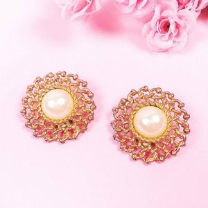 Vintage Gold Toned Large Pearl Earrings